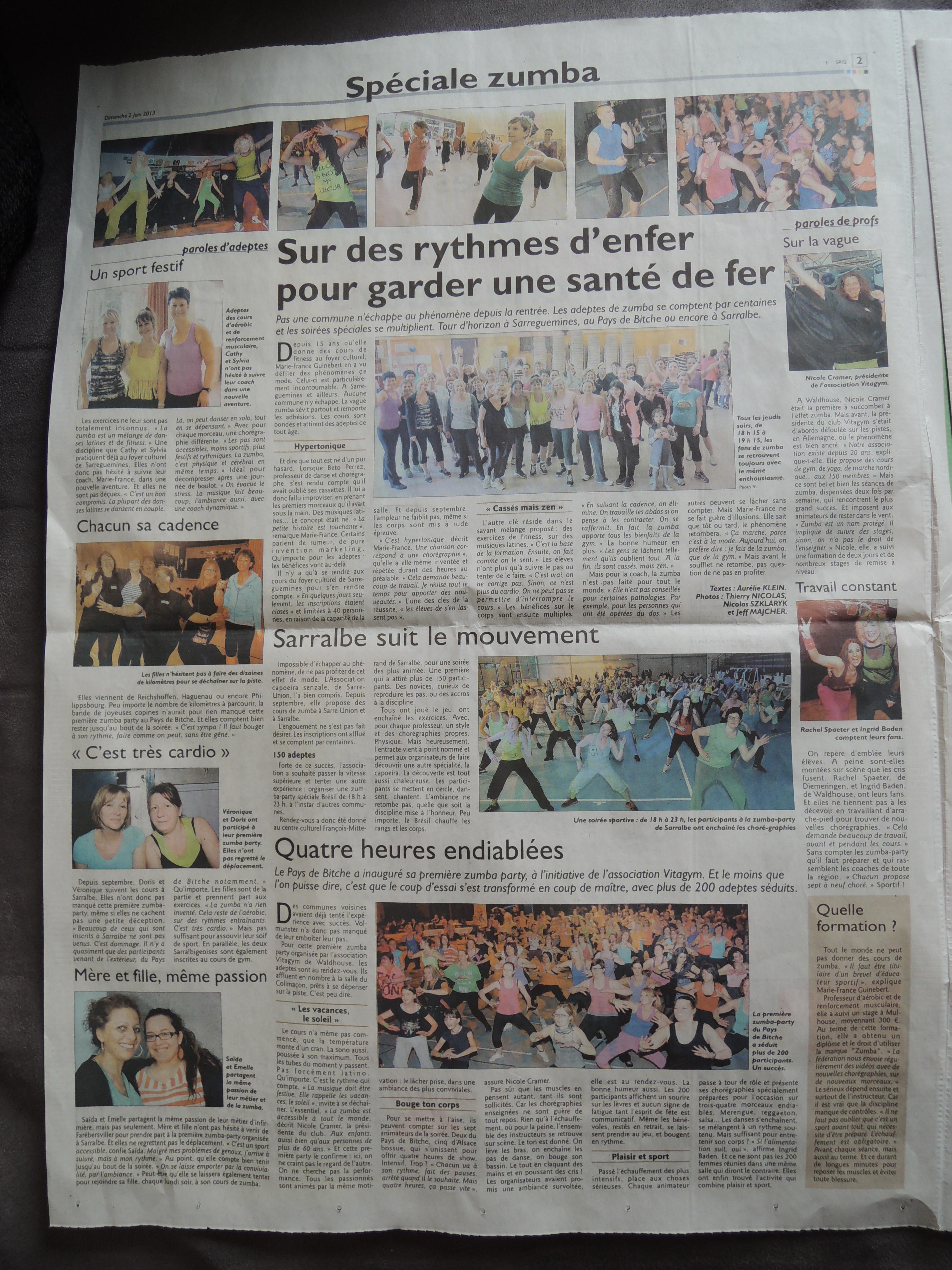 Article zumba party sarralbe républicain lorrain 02-06-13